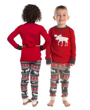 Moose Fair Isle Kid's Long Sleeve PJ's