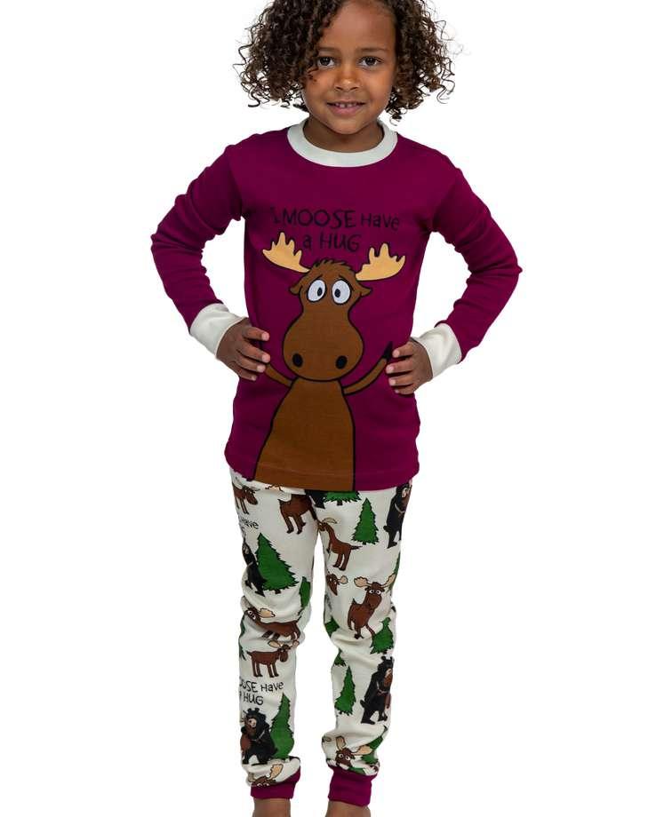 Moose Hug Purple Kid's Long Sleeve PJ's