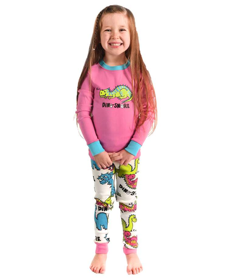 Dino-Snore Kid's Long Sleeve Pink PJ's