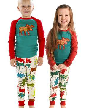 Pattern Moose Kid's Long Sleeve Pj's