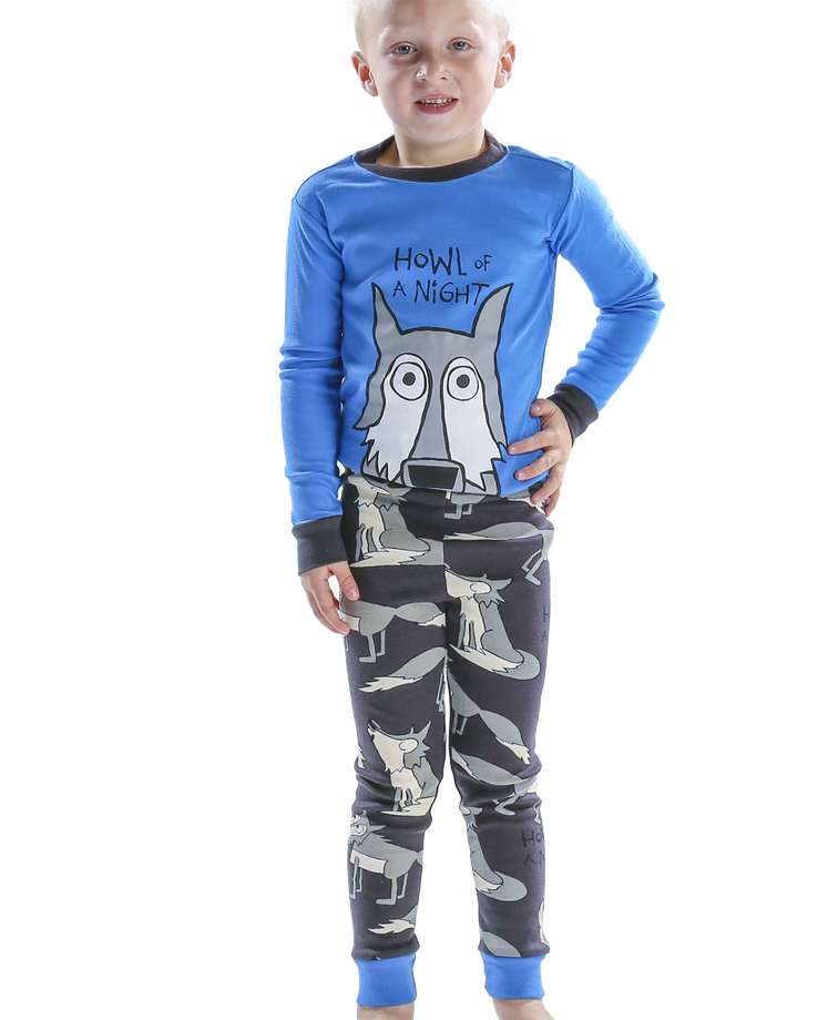 Howl of a Night Wolf Kid's Blue Long Sleeve PJ's