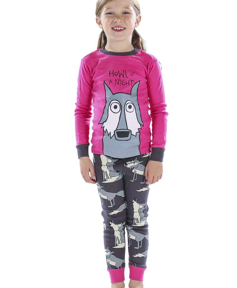 Howl of a Night Wolf Kid's Pink Long Sleeve PJ's