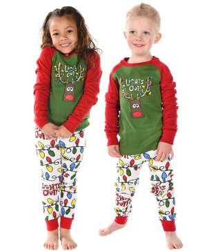 Lights Out Kid's Long Sleeve Reindeer PJ's