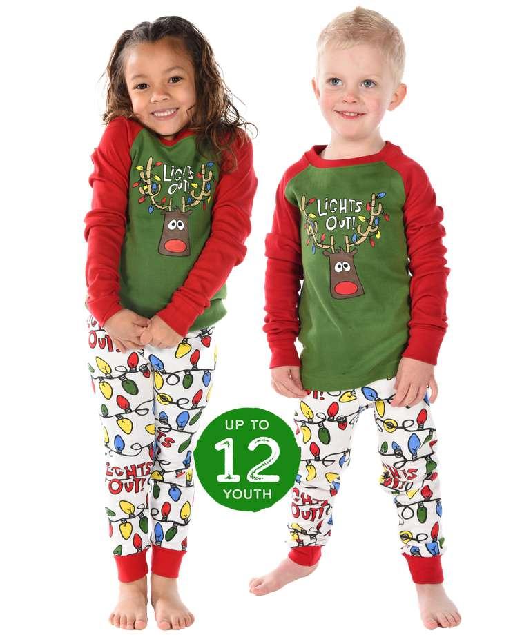 Lights Out Kid's Long Sleeve Reindeer PJ's