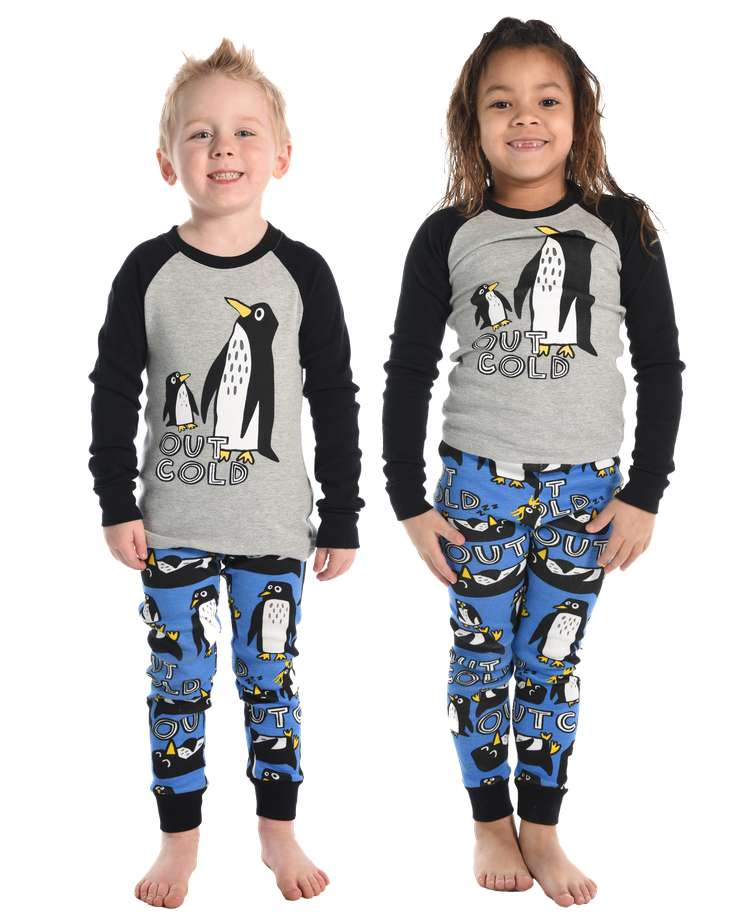 Out Cold Kid's Long Sleeve Penguin PJ's