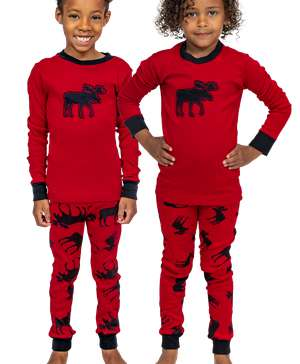 Red Classic Moose Kid's Long Sleeve PJ's