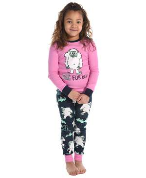 Yeti For Bed Kid's Long Sleeve Pink PJ's