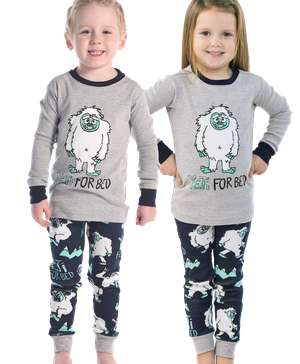 Yeti For Bed Kid's Long Sleeve Grey PJ's