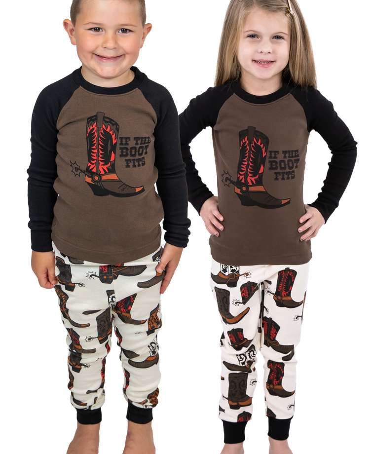 If The Boot Fits Kid's Long Sleeve Boy PJ's