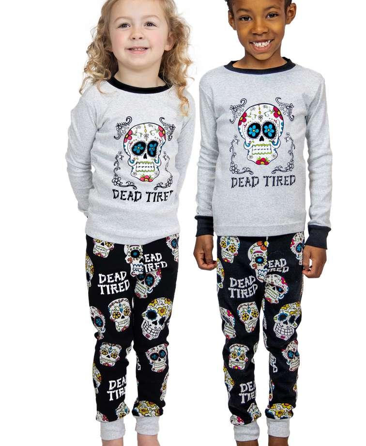 Dead Tired Kid's Long Sleeve Skull PJ's