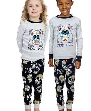 Dead Tired Kid's Long Sleeve Skull PJ's