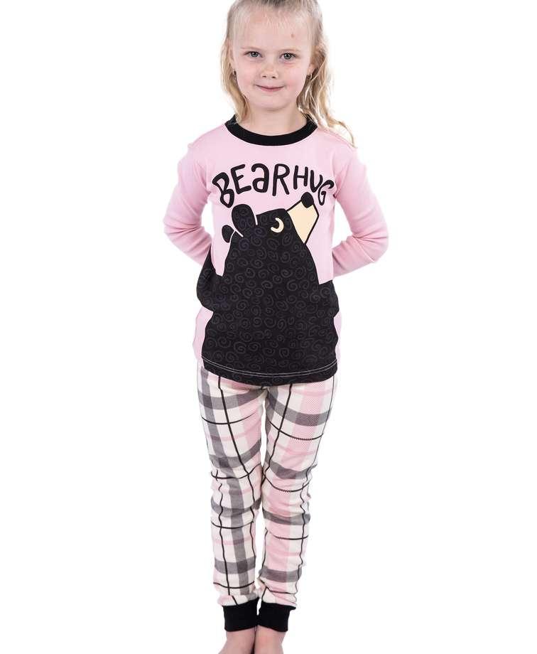 Bear Hug Kid's Long Sleeve Pink PJ's