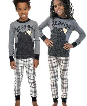 Bear Hug Kid's Long Sleeve Grey PJ's