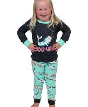 SnoreWhal Kid's Long Sleeve Narwhal PJ's