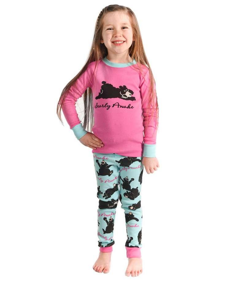Bearly Awake Kid's Long Sleeve Pink PJ Set
