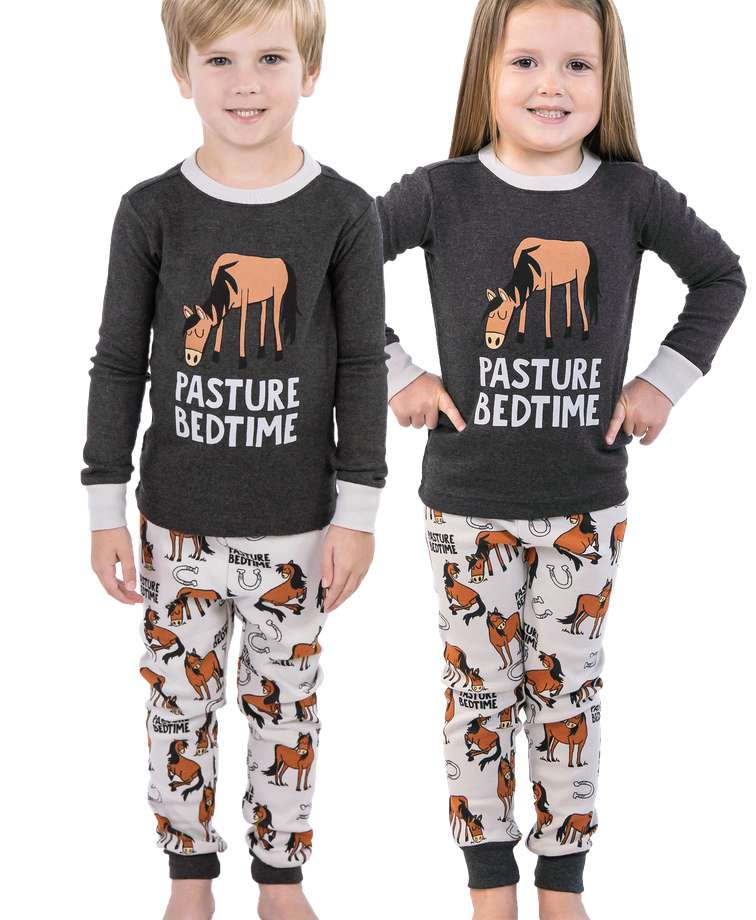 Pasture Bedtime Grey Horse PJ Set