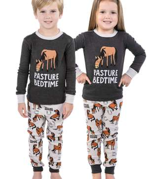 Pasture Bedtime Grey Horse PJ Set