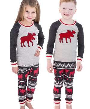 Cabin Moose Kid's Long Sleeve PJ's