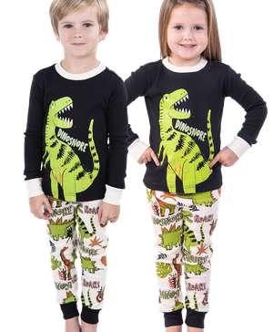Dinosnore Green Kid's Long Sleeve PJ's