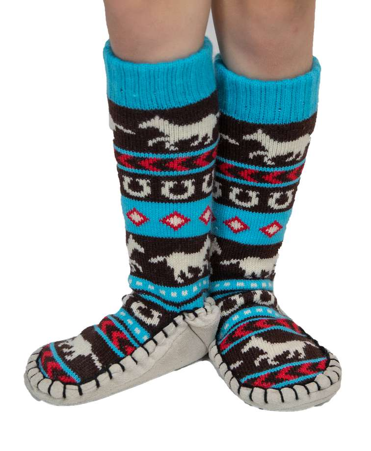Horse Fair Isle Kid Mukluk Slipper