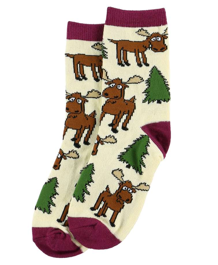 Moose Hug Purple Kid Sock