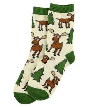 Moose Hug Green Kid Sock