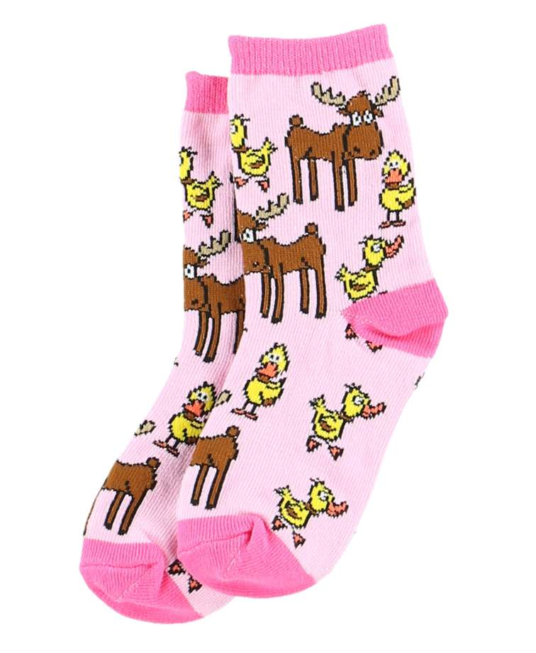 Pink Duck Duck Moose Socks For Kids (C)