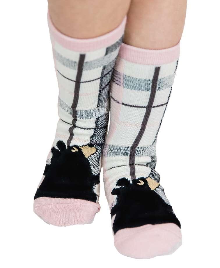 Plaid Bear Hug Pink and Grey Kid Sock