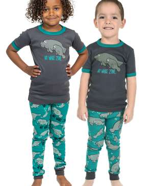 No Wake Zone Kid's Short Sleeve Manatee PJ's