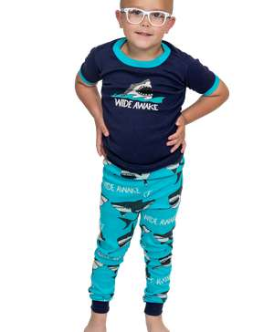 Wide Awake Kid's Short Sleeve Shark PJ's