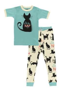 Cat Nap Blue Kid's Short Sleeve PJ's