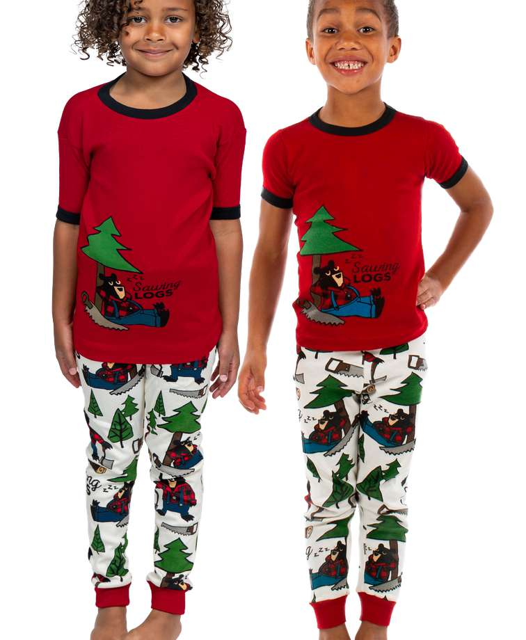 Sawing Logs Kid's Short Sleeve Bear PJ's