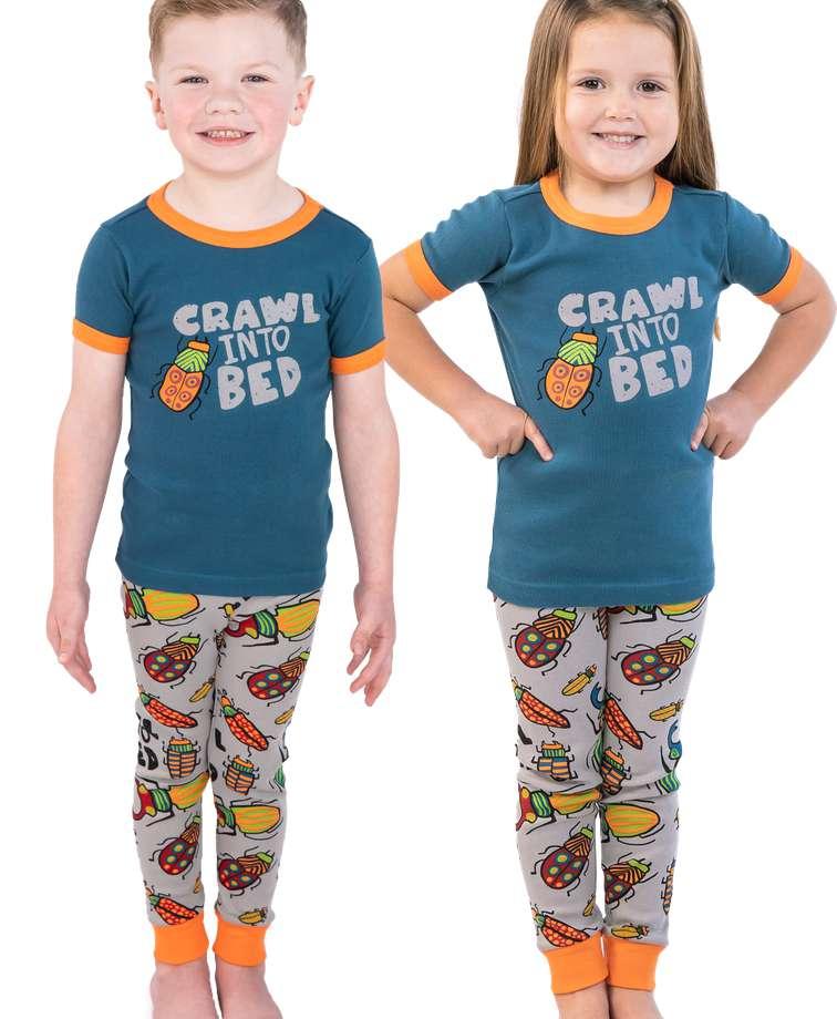 Crawl Into Bed Kid's Short Sleeve Bug PJ's