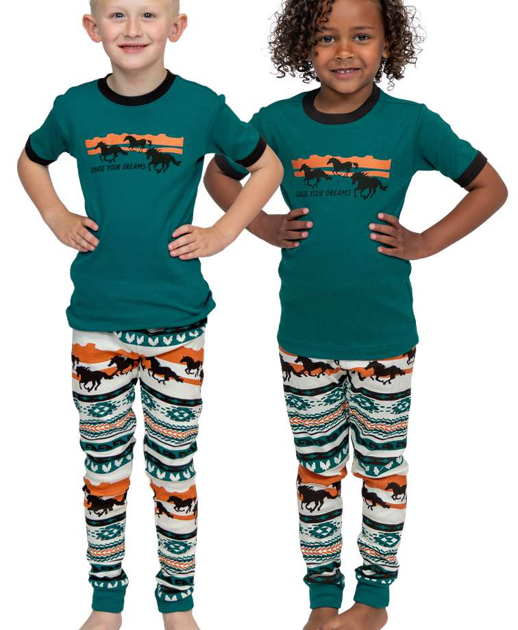 Chase Your Dreams Kid's Short Sleeve Horse PJ's
