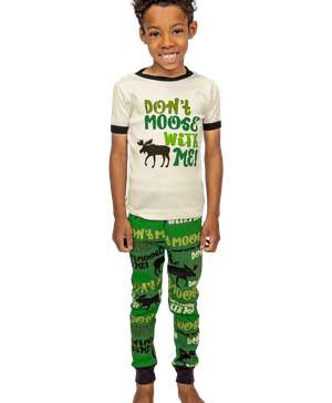 Don't Moose With Me Kid's Short Sleeve Green PJ's