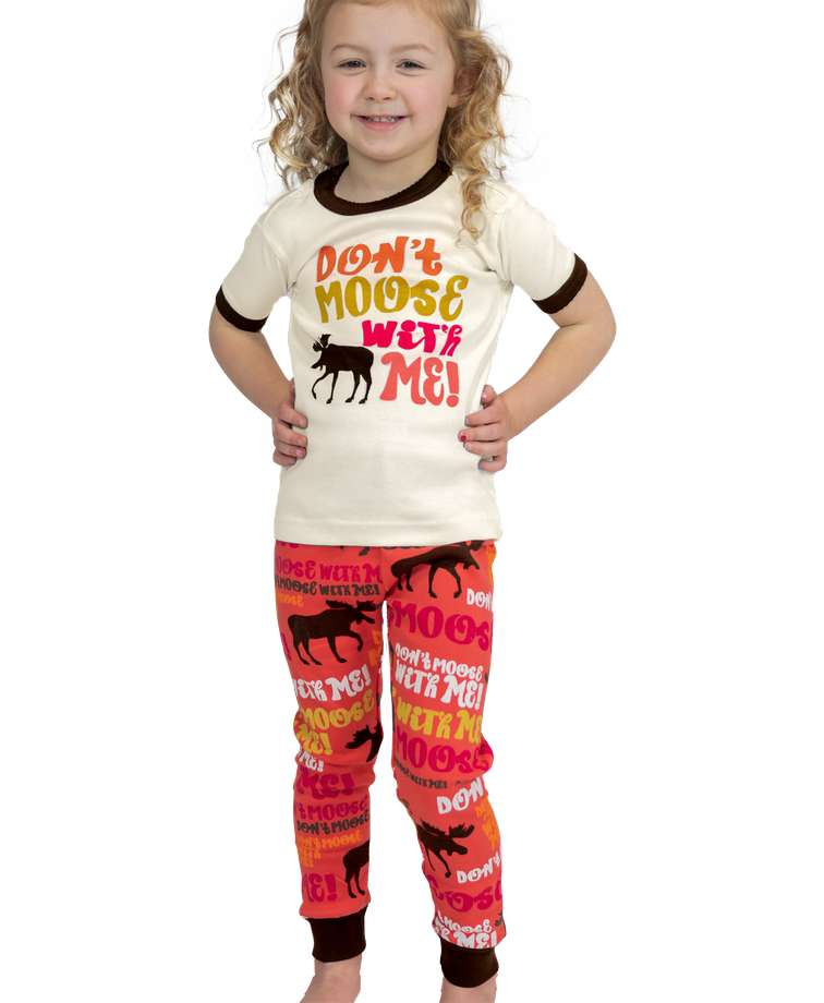 Don't Moose With Me Kid's Short Sleeve Pink PJ's