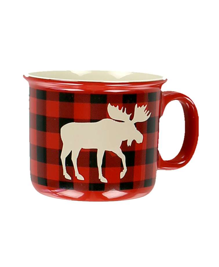Moose Plaid Red Ceramic Mug