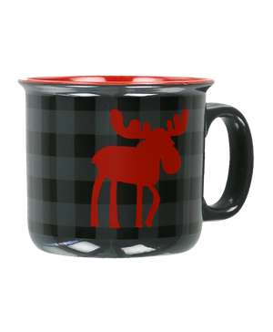 Moose Plaid Grey Ceramic Mug