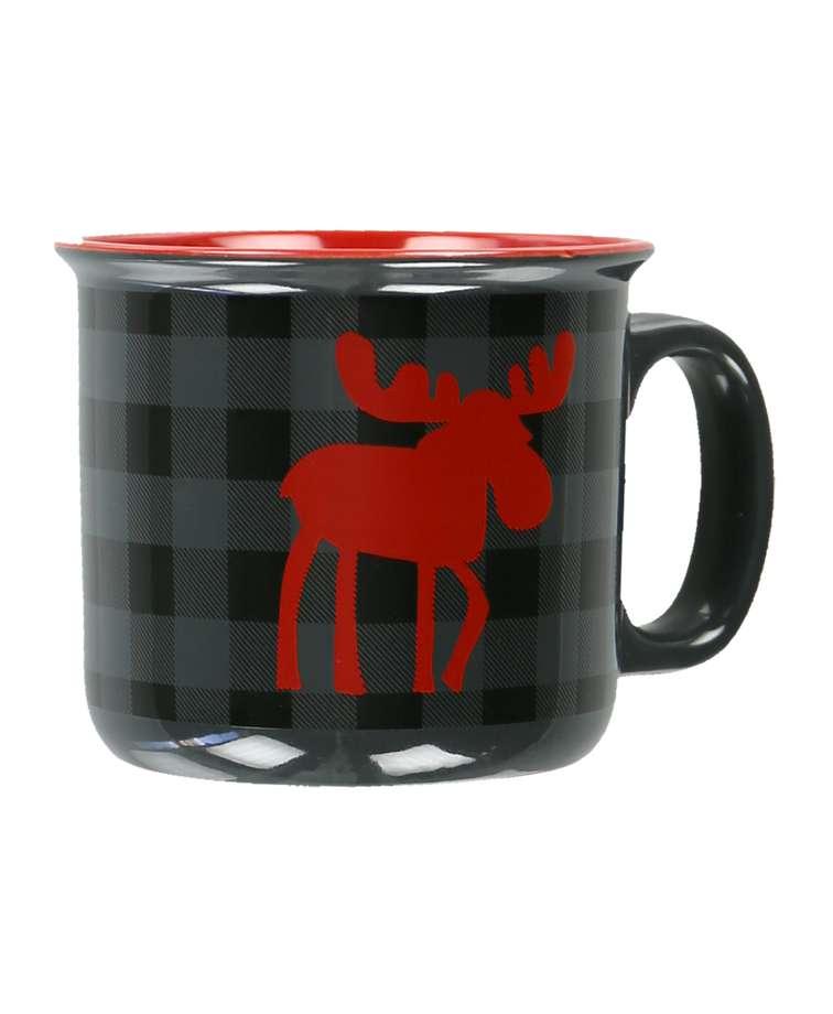 Moose Plaid Grey Ceramic Mug