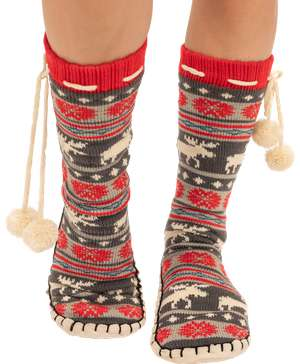 Moose Fair Isle Adult Mukluk Slipper
