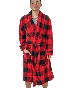 Red Plaid Men's Bathrobe