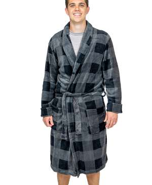 Grey Plaid Men's Bathrobe