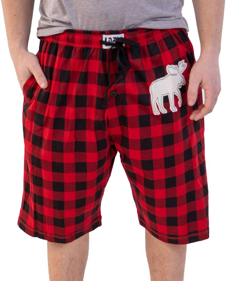 Moose Plaid Men's Pajama Shorts