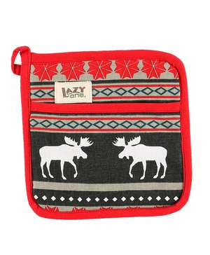 Moose Fair Isle Pot Holder