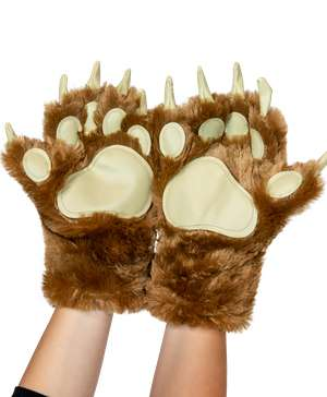 Brown Bear Kid and Adult Paw Mitt