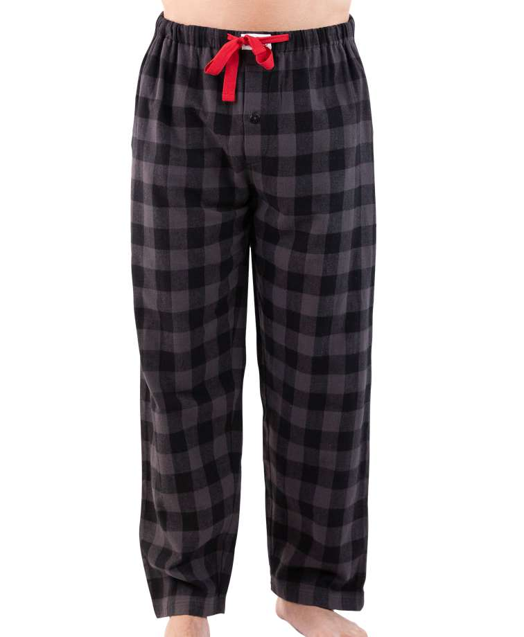Grey Plaid Men's Flannel PJ Pant