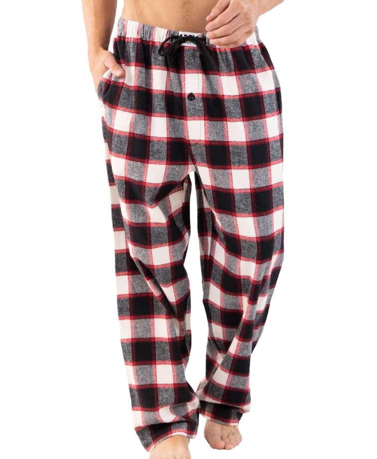 Black Plaid Men's Flannel PJ Pants