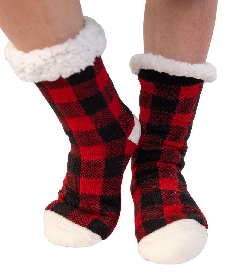 Red Plaid Plush Sock