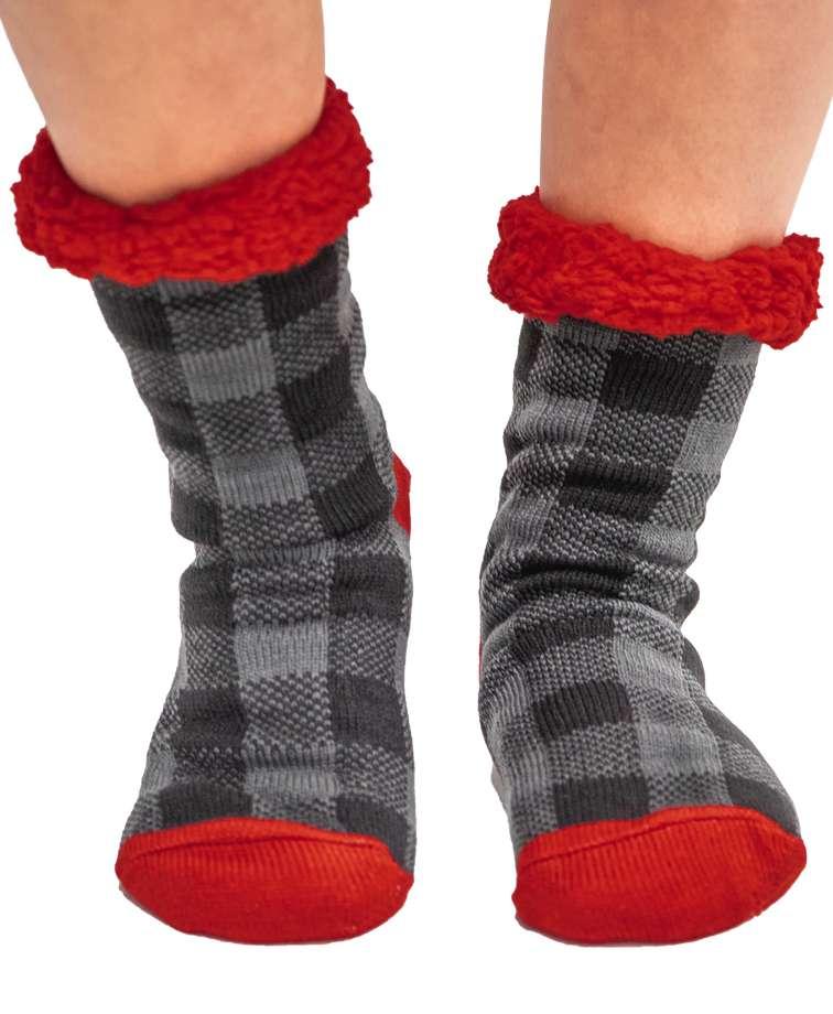 Grey Plaid Plush Sock