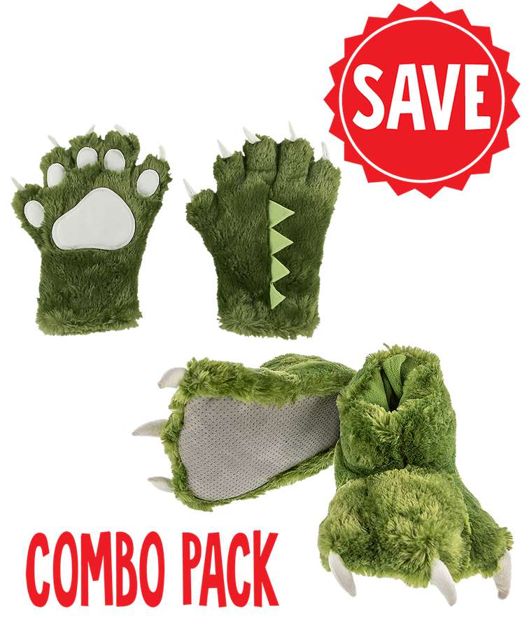 Green Dino Kid and Adult Combo Pack